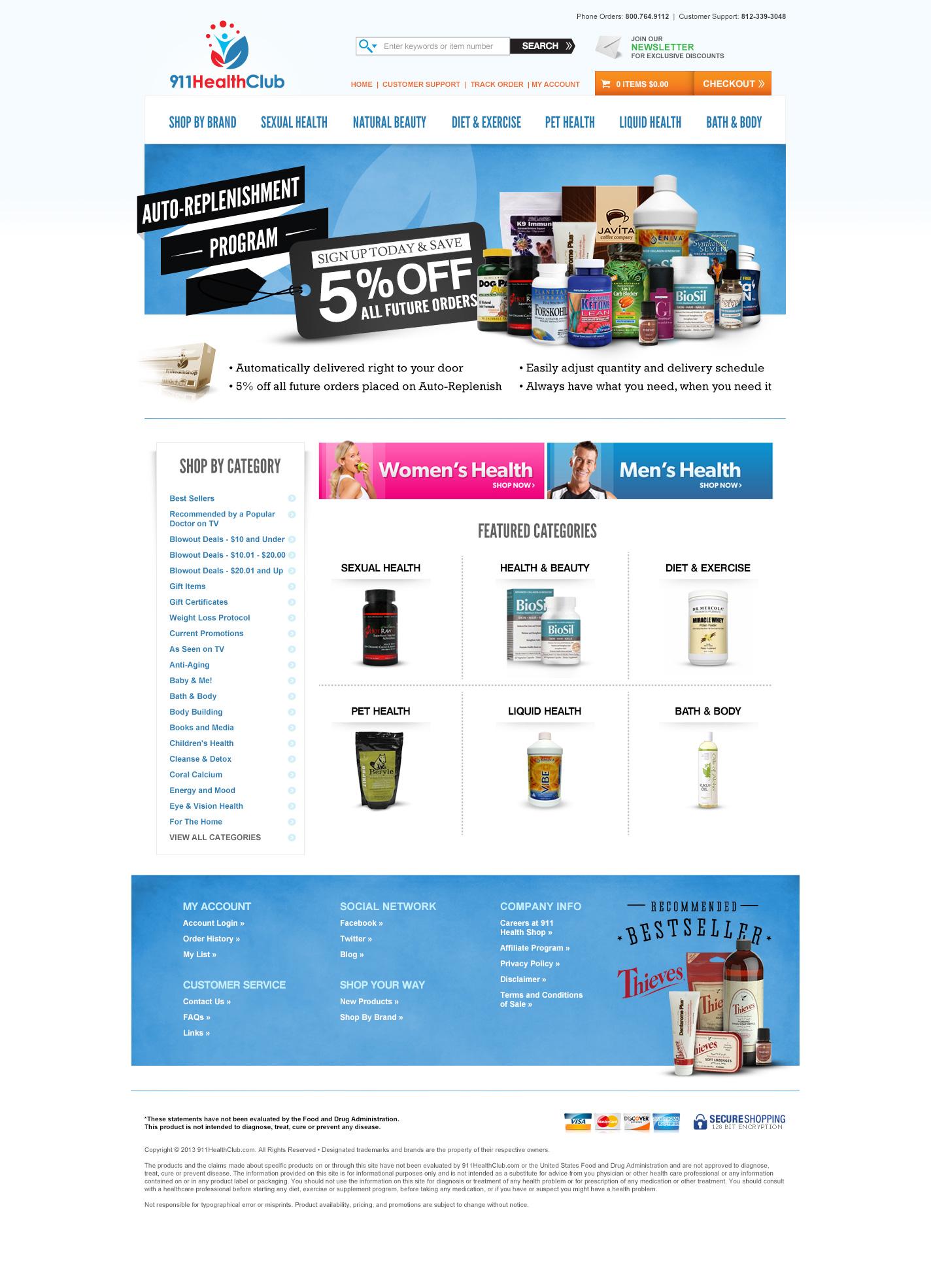 911HealthShop website design