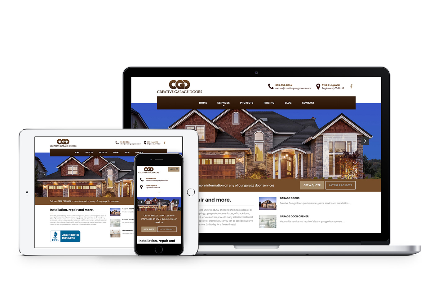 Creative Garage Doors website design