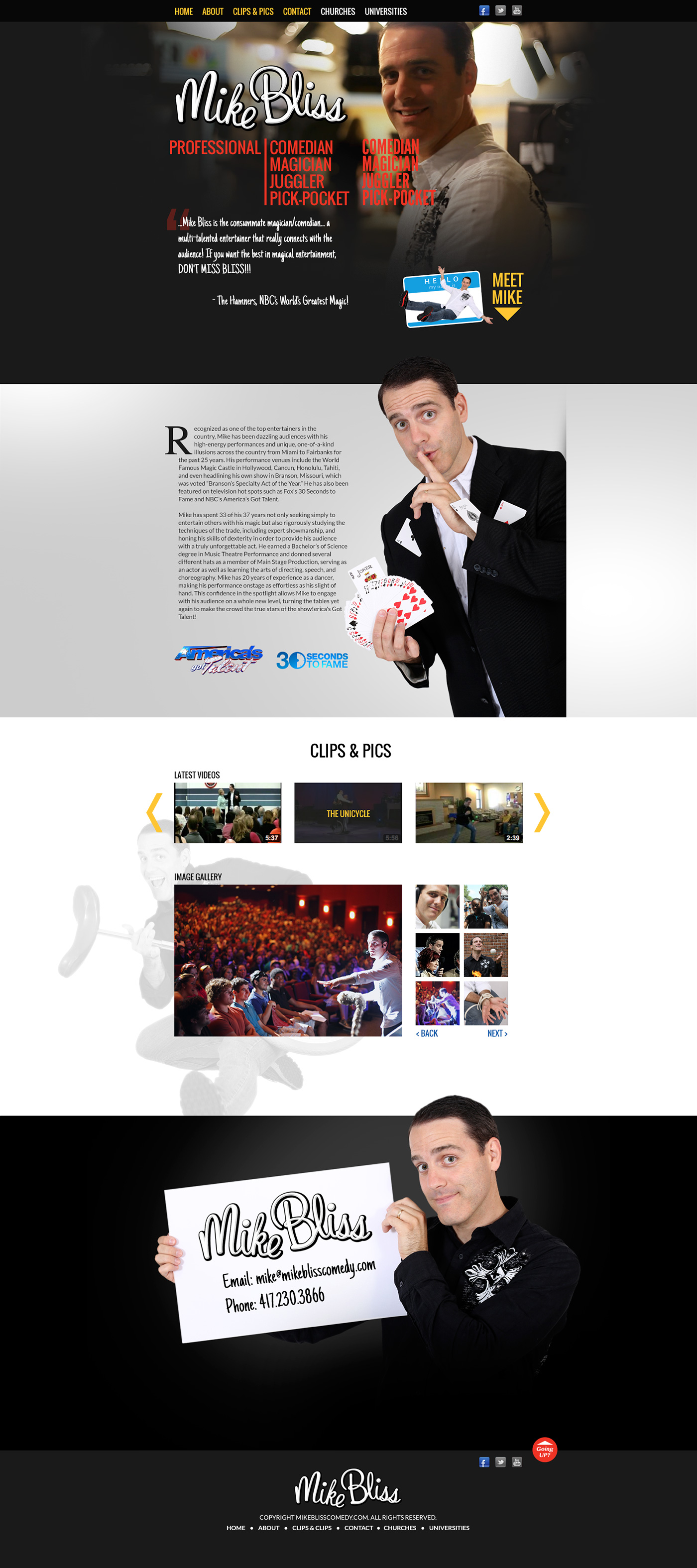 Mike Bliss Comedy website design
